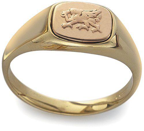Mens Welsh Gold Engraved Ring