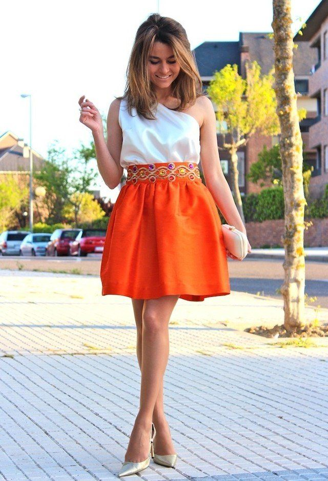@roressclothes closet ideas #women fashion Sweet Orange Dress Outfit Idea