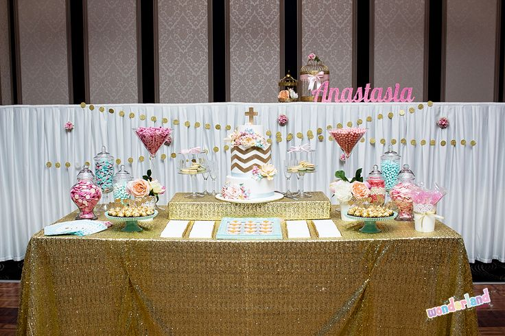 Gold Cake and lolly table for girls christening www.wonderlandparties.com.au