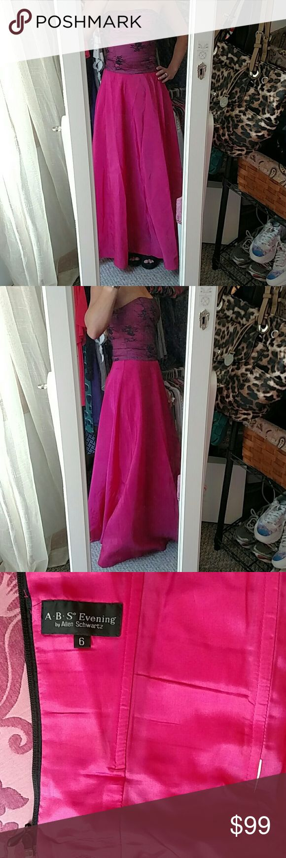 Two piece prom or evening gown This is a bright pink high waisted long skirt with a size 6 tag was cut off and a abs evening zip up boned corset top bright pink under black lace with some black sparkle beading. This is years old got a a Saks discount store. Skirt needs a steaming to get wrinkles out ABS Allen Schwartz Dresses Prom