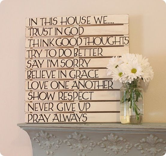 DIY-Home DecorIdeas, Pallets Art, Pallets Wall Art, Quotes, Words Art, House Rules, Diy Wall Art, Wood Pallets, Families Rules