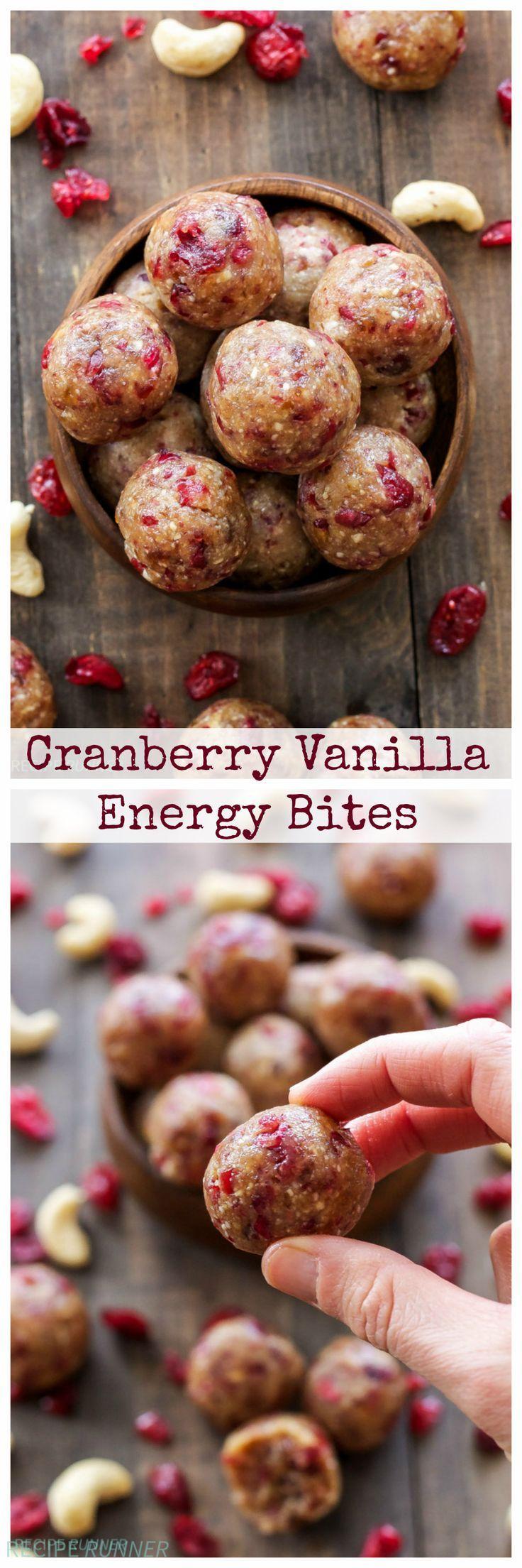 Cranberry Vanilla Energie Bites   Diese gesunden Energie Bisse sind glutenfrei, vegan, Paläo und voller Preiselbeeren und Vanillearomen!