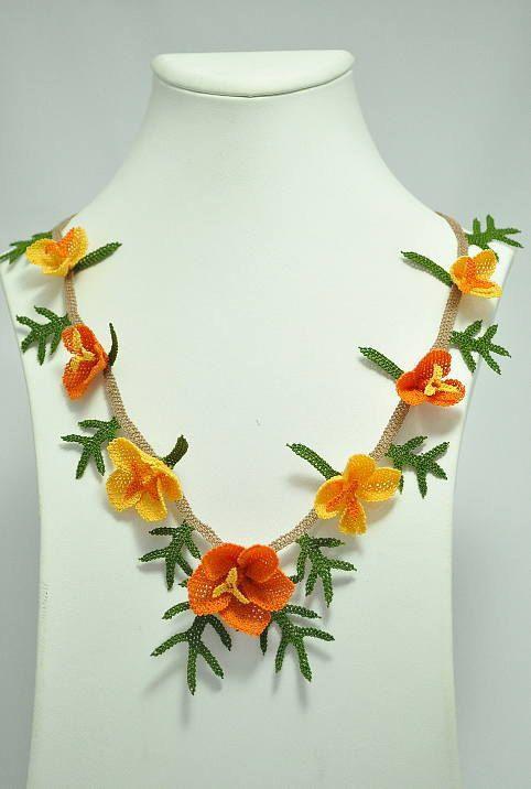 OYA Silk Needle Lace Necklace Hand made Turkish lace by OYASHOP, $55.00