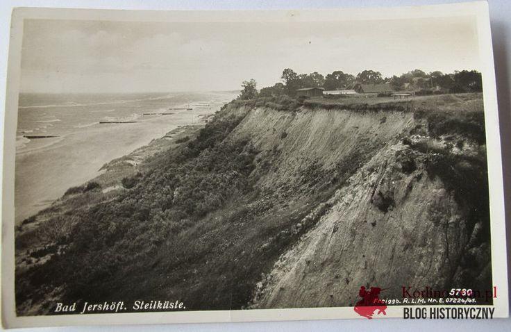 Bad Jershöft Steilküste Pocztówka z obiegu wysłana 6 sierpnia 1941 roku z Jarosławca. Wydawnictwo: M. Zuhlke, Lindenhotel, Jershöft i/Pom.