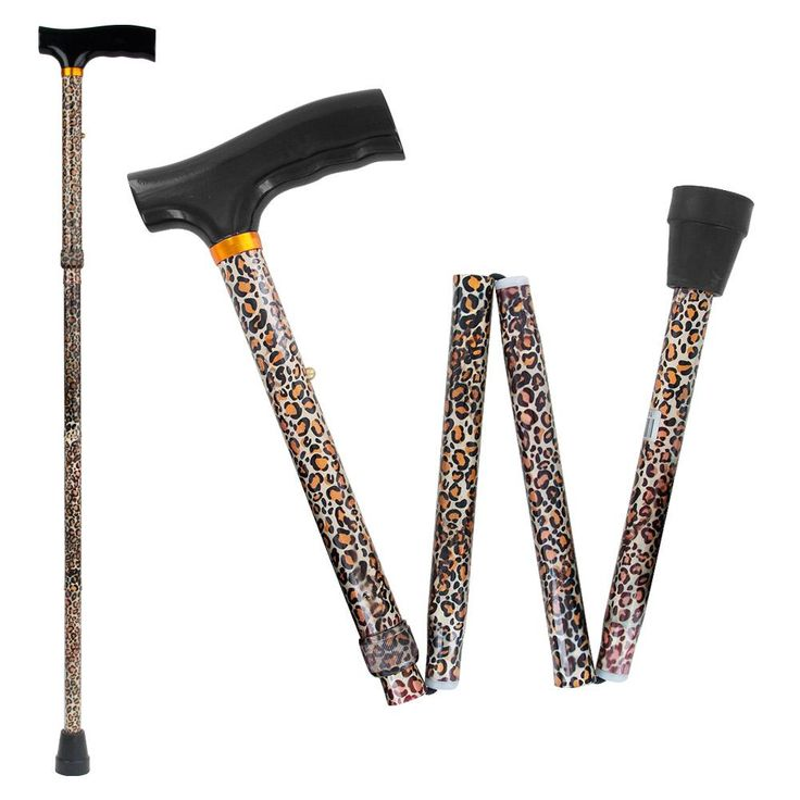 Drive Medical Lightweight Adjustable Folding Cane with T Handle, Leopard