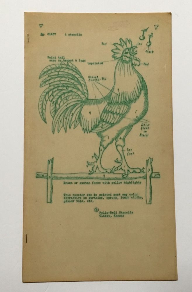 Rooster Stencil Paint Template Pillowcase Apron Wall Polly Dell 4 Pc Vtg Craft #PollyDell #Rooster