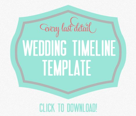 Wedding Timeline Template Download!