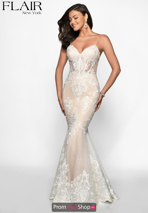 02b2b6cddd7 You will make all jaws drop at your senior prom in this Flair dress style  19125. This dress showcases a v-cut neckline with thin spaghetti straps