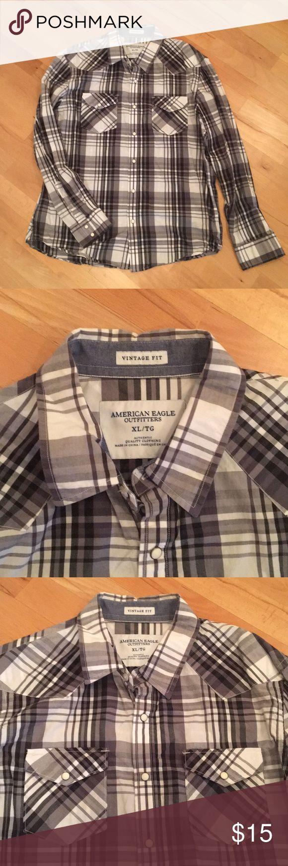 American Eagle Men's Button-down Shirt American Eagle Men's Button-down Shirt in gray and white. Snap button shirt. Good condition American Eagle Outfitters Shirts Casual Button Down Shirts