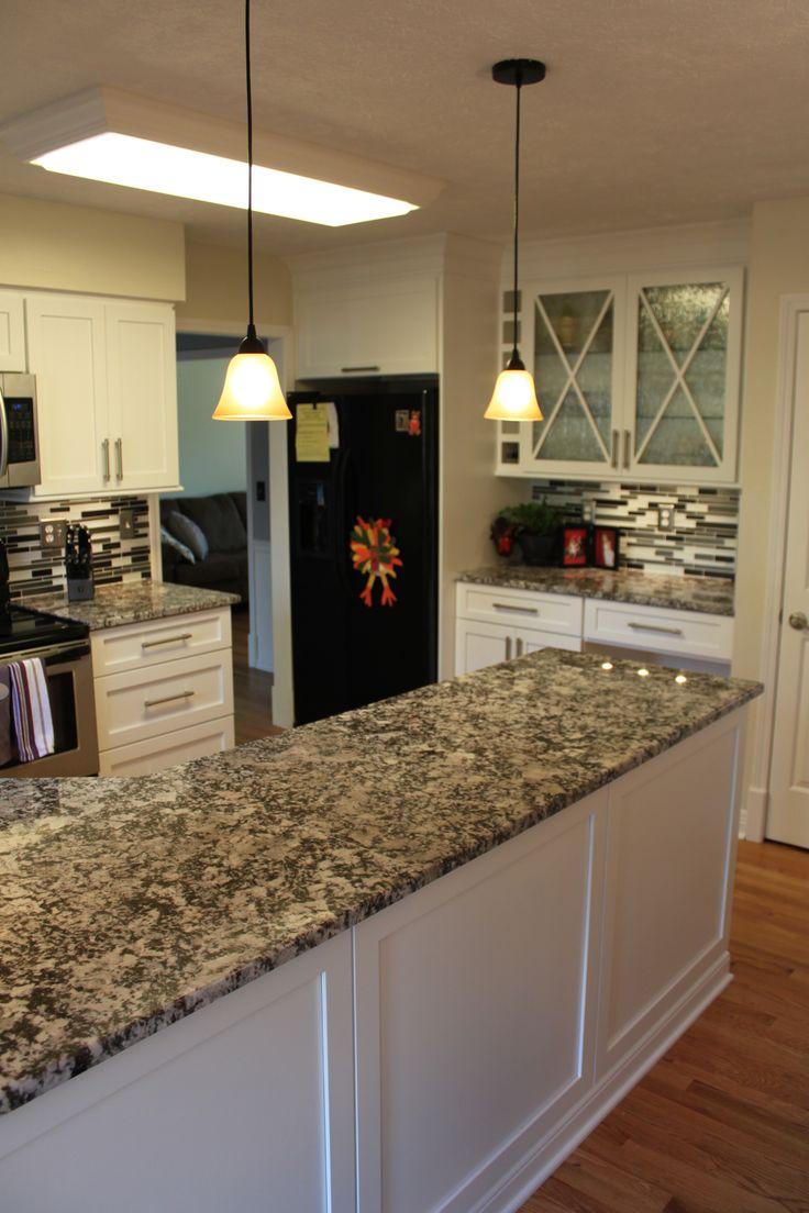 Lapidus premium product search marva marble and granite - Brauch Custom Cabinetry Maple Shaker Door Panel Painted Snow Bound Antique Luna Granite Tops