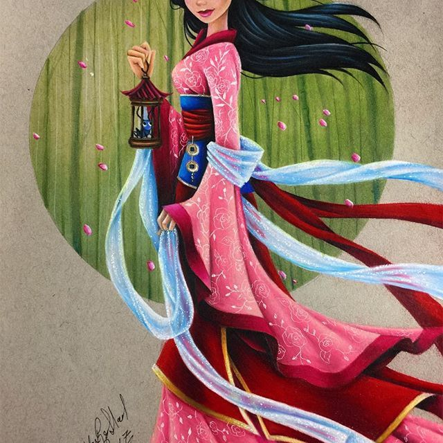 """🌸 """"The flower that blooms in adversity, is the most rare and beautiful of all."""" 🌸 I honestly JUST made it with my pink's 😭 They were so small and I don't even think I could sharpen it enough to make one more petal 😂 #Mulan #prismacolorpencils #strathmore #fanart #disney #illustration #cherryblossom"""