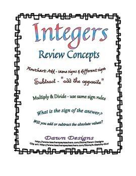 Free Integers Worksheets | edHelper.com