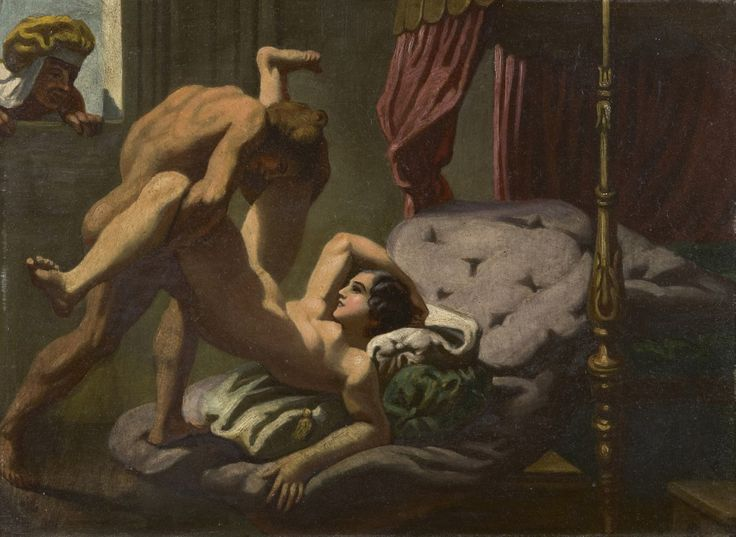 A. Fischer, 20th century, German School. The voyeur, oil on painter's board. Collection Simonis & Buunk, The Netherlands