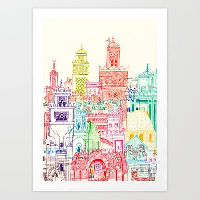 Marrakech Towers  Art Print by Cheism - $15.48