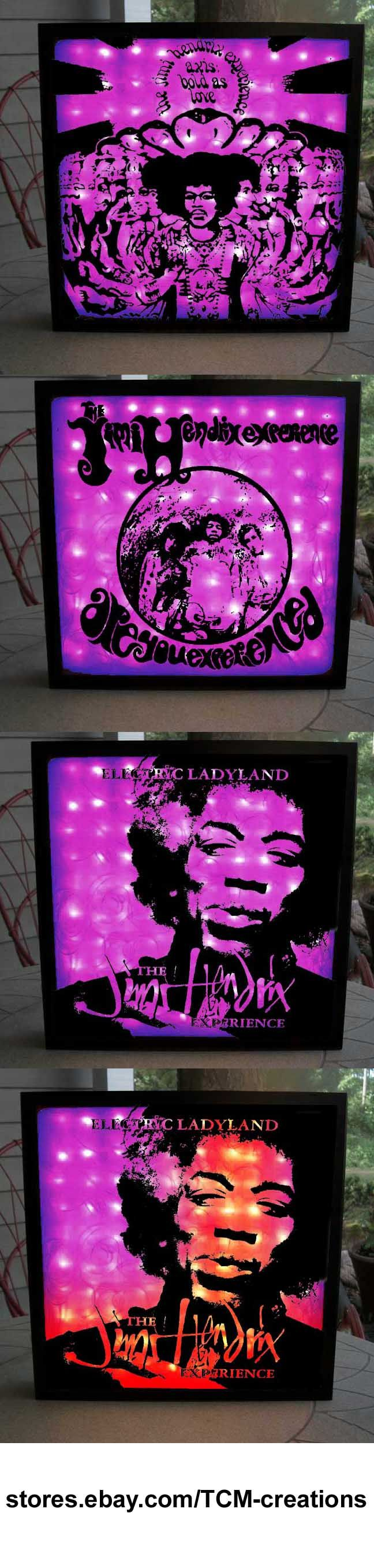 Jimi Hendrix shadow boxes with LED lighting.  Jimi Hendrix Experience, Purple Haze, Are You Experienced?, Hey Joe, The Wind Cries Mary, Axis: Bold As Love, Electric Ladyland, Noel Redding, Mitch Mitchel