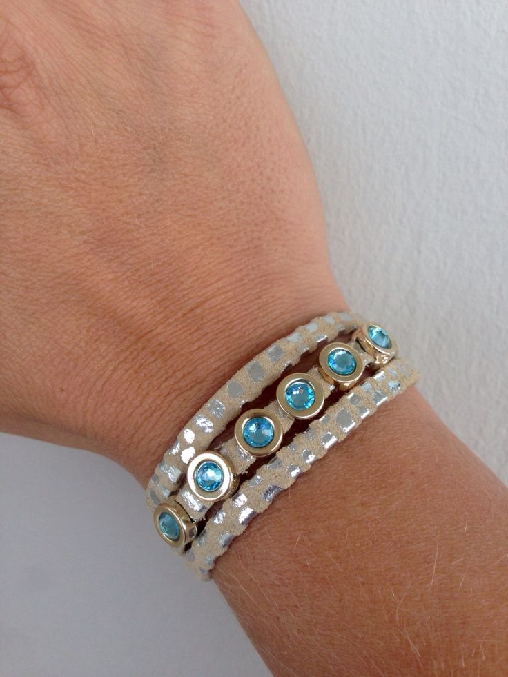 Danijewellery  Bracelet with leather and Swarovski