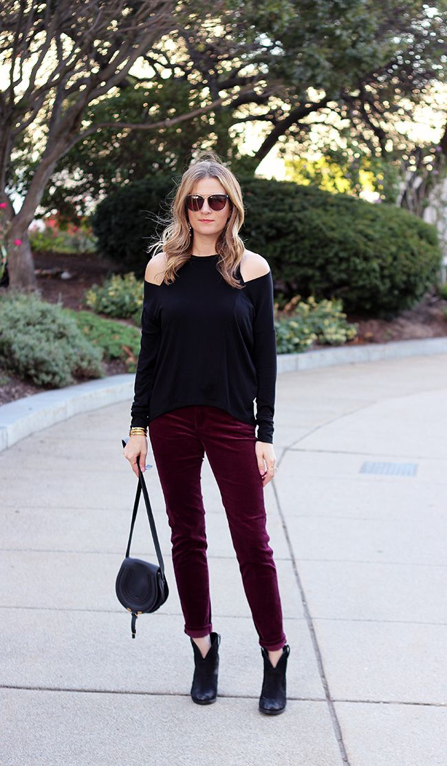 Threads for Thomas stuns in her Stitch Fix cold-shoulder top and burgundy pants.