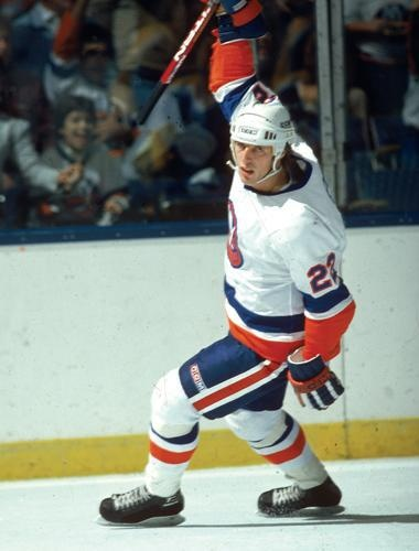 """Mike Bossy - """"The Sniper"""" thanks to great passes from Bryan Trottier."""