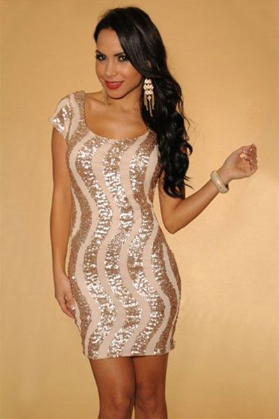 Gold Apricot Sequin Accent Keyhole Back Cap Sleeves Dress
