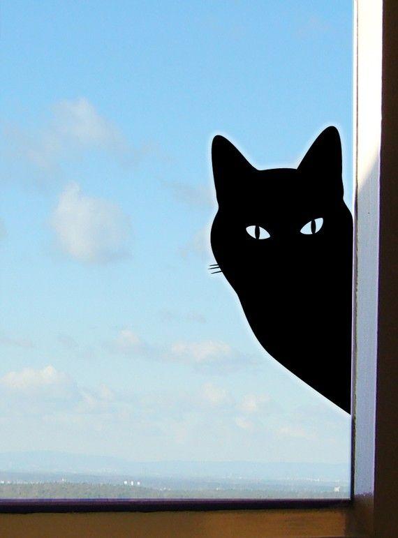 Peeping Tom Kat Sticker of Raam Sticker van jolyonyates op Etsy, £12.00