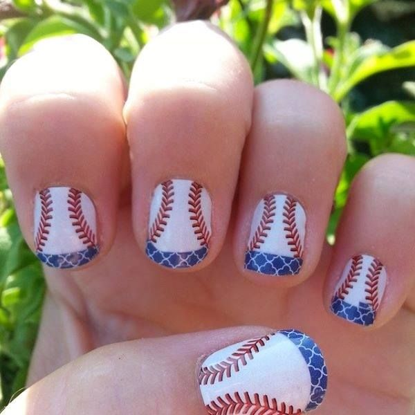 Curveball with blue quatrefoil tips - baseball nail art from Jamberry - 25+ Beautiful Baseball Nail Designs Ideas On Pinterest Softball