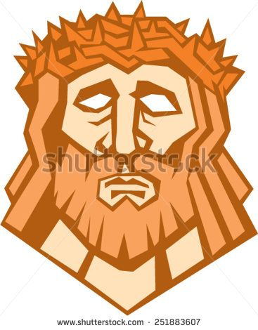 Illustration of Jesus Christ face with crown of thorns set on isolated white background done in retro style.  - stock vector #crucifixion #retro #illustration