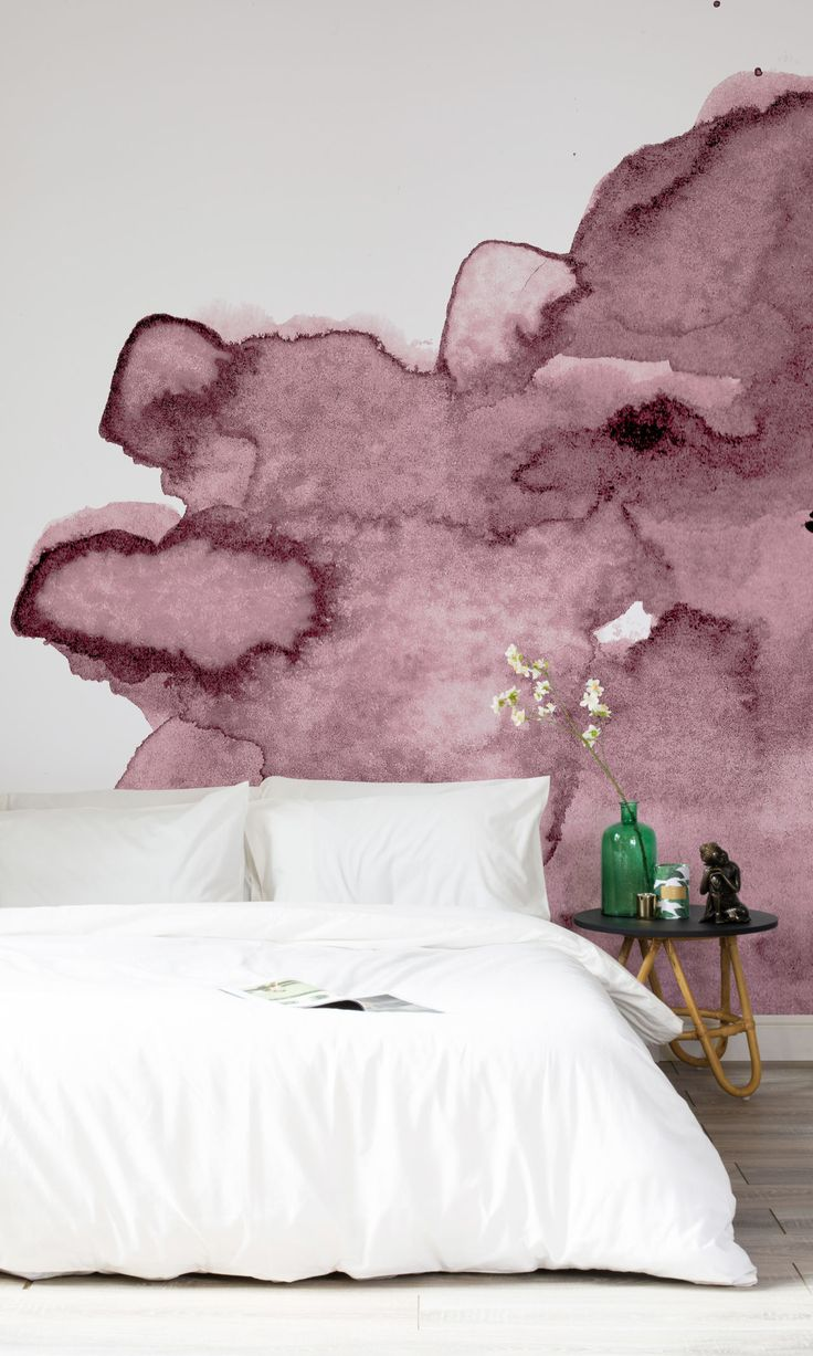 Dusty Pink Watercolour wallpaper: Murals Wallpaper have created a gorgeous watercolour wall mural collection made from handmade prints. This abstract design is perfect for producing a relaxing, contemporary atmosphere. Find more decorating tips at housebeautiful.co.uk