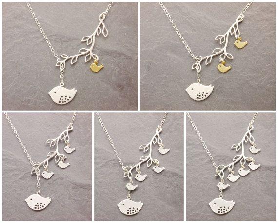 Bird Family Necklace 1-5 Kids grandma necklace nana by MegusAttic