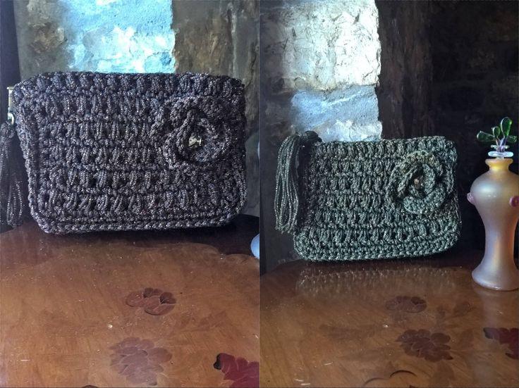 Crochet purse, Tote purse , Evening purse, Zipper purse bag, Evening tote purse, Brown, Olive green, Knitting pattern, Satin yarn, Tassels by FeMiGR on Etsy