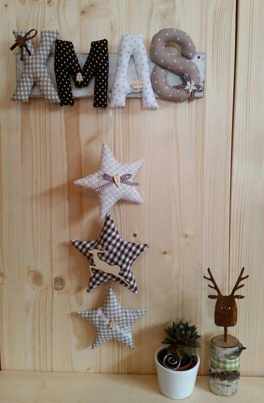 ☆ Girlande Holz-Schild XMAS Weihnachten ☆ nach Tilda-Art genäht ☆ Buchstaben Sterne ☆ Shabby Landhaus