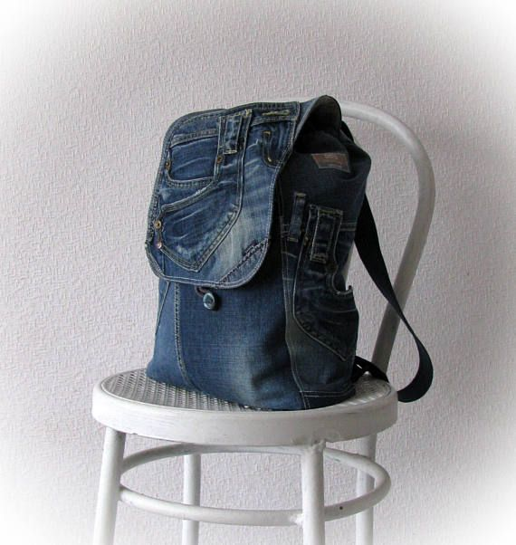 Unisex vegan jeans backpack, recycled denim backpack, handmade patchwork rucksack, upcycled jean backpack, patchwork jeans bag A comfortable jean backpack . It`s-back-for-all! Really cute and very functional. Approximate dimensions: 39 х 40 cm (15,5х 16) My shop