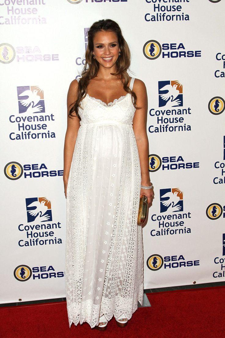 8 best pregnancy wear images on pinterest pregnancy wear jessica alba white pregnancy dress ombrellifo Choice Image