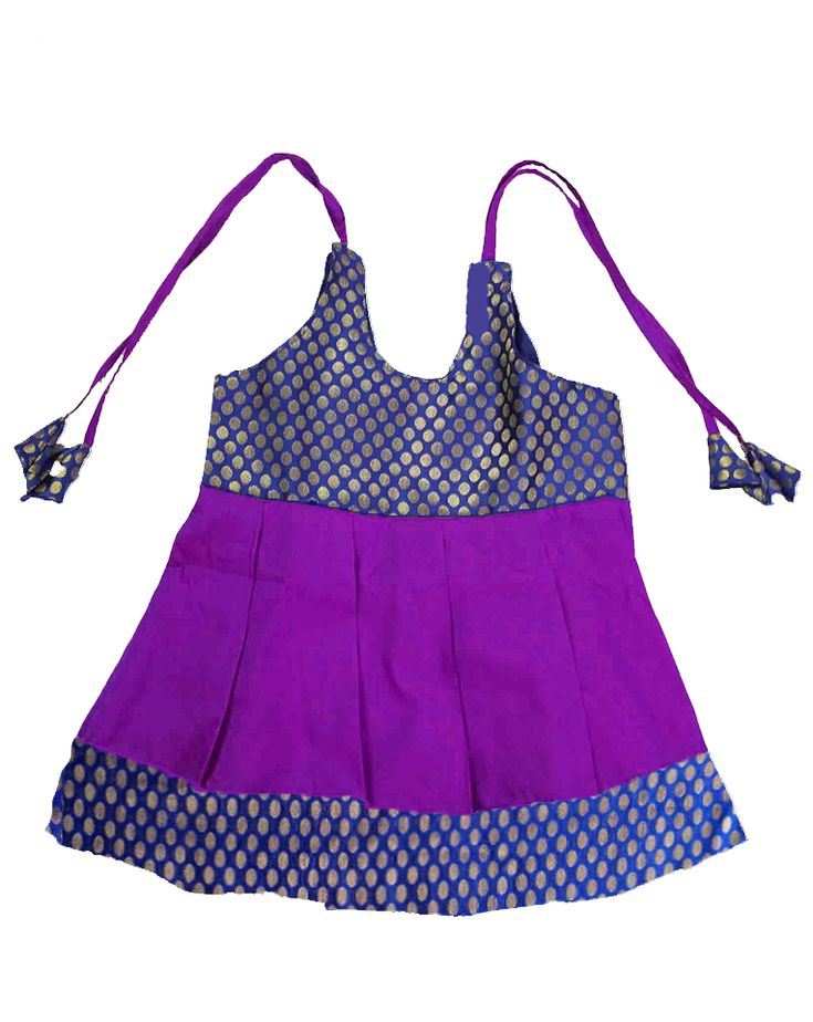#kidsfrocks #kidspattufrocks Violet with Blue Pattu Frocks only at www.bujuma.com