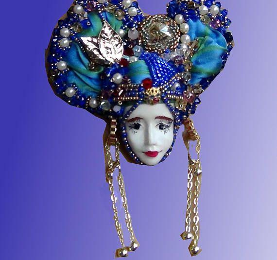 Bead Embroidery Necklace - Collana di ricamo perline | Silk Shibori Ribbon - Seta Shibori - Face doll -Viso di bambola - OOAK rif 4