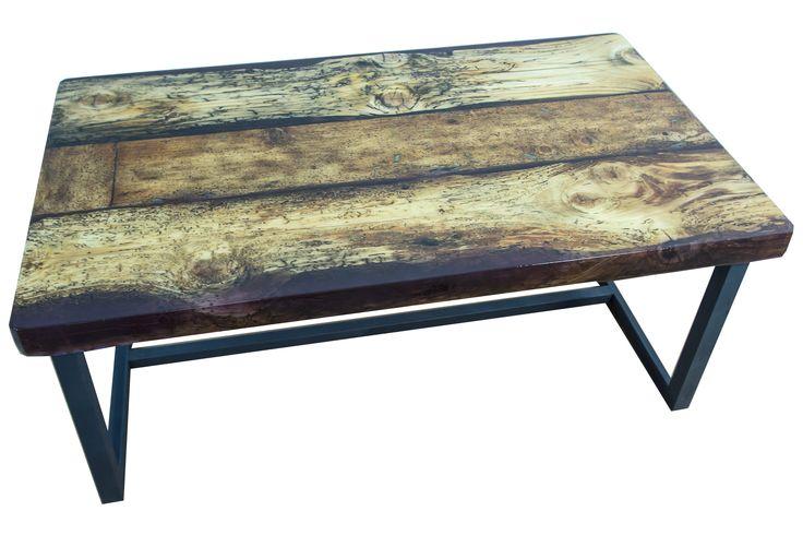 Iris - reclaimed wood and purple resin, industrial design coffee table; masa cafea din lemn vechi si rasina indigo