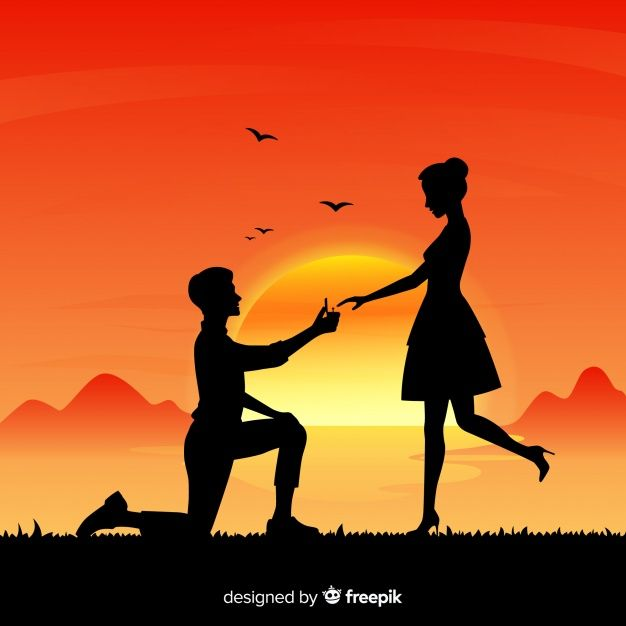 Download Marriage Proposal Composition With Silhouette Style For Free Cute Love Wallpapers Love Background Images Silhouette Art