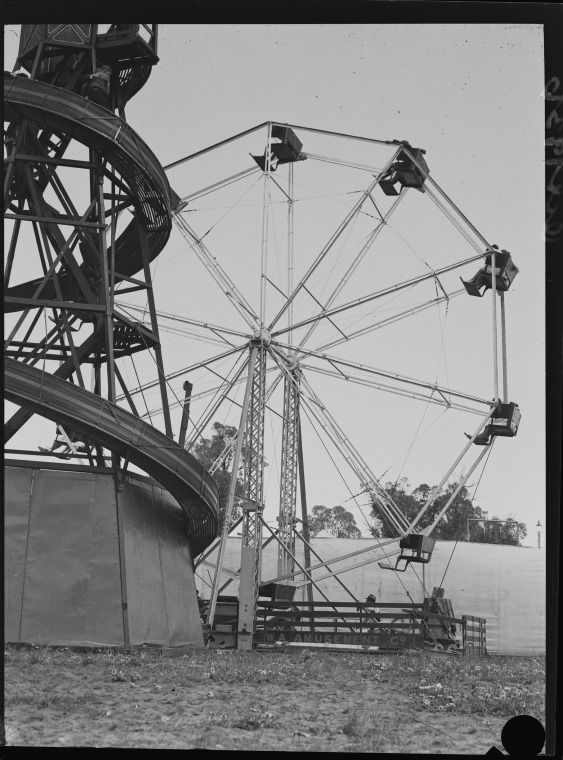 046466PD: Show rides and ferris wheel, 1936.  http://encore.slwa.wa.gov.au/iii/encore/record/C__Rb2395619__S046345PD__Orightresult__U__X3?lang=eng&suite=def