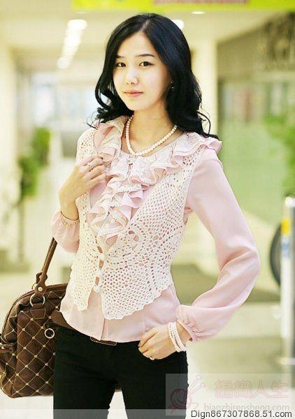 Crochet chaleco con un elegante