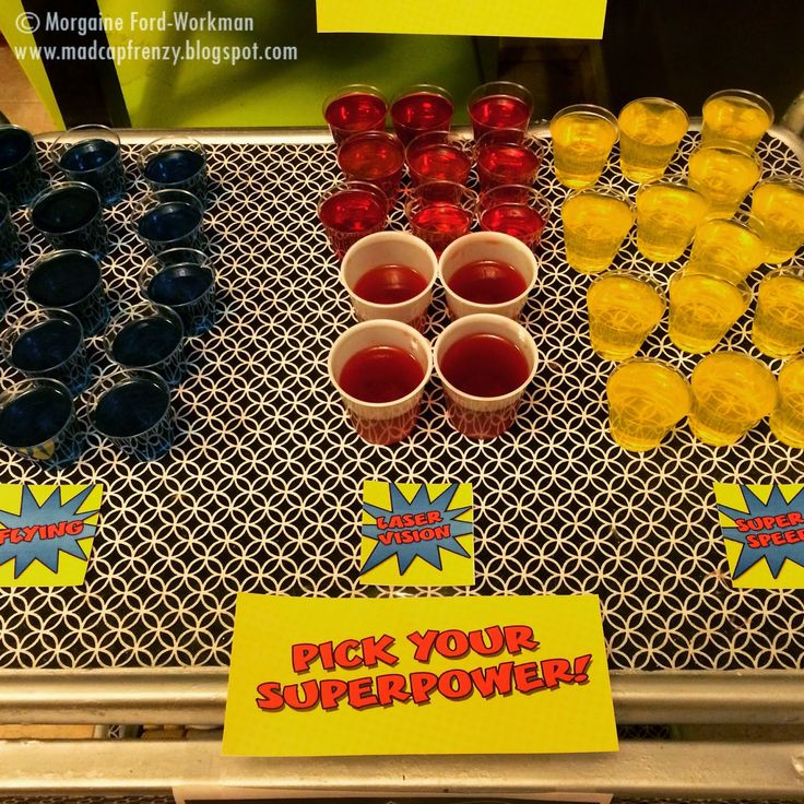 Madcap Frenzy's A Heroes and Villains themed New Years Eve party for adults- Superhero jelloshots
