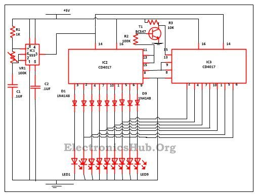 This Is A Simple Circuit Consists Of 9 LED Lights In Knight Rider Scanner Mode Get The Diagram And Working Project Completely Post