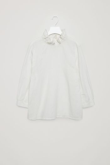 COS image 2 of Frill-neck blouse in White