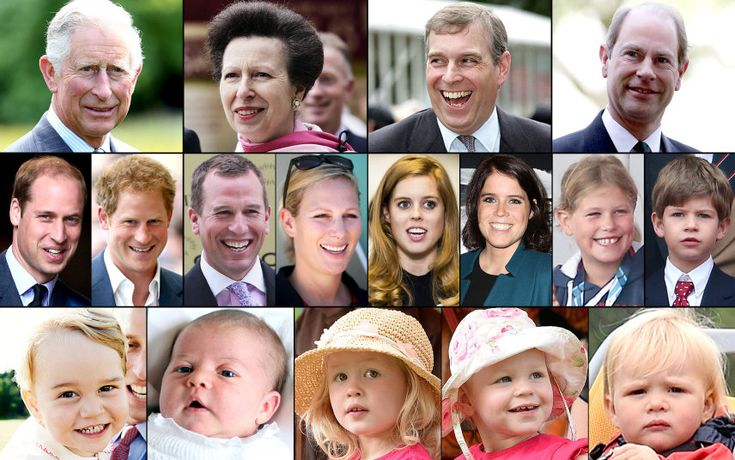 Queen Elizabeth II has 4 children, 8 grandchildren & to date, 5 great-grandchildren. (L-R top row): Prince Charles, Princess Anne, Prince Andrew and Prince Edward; (middle row) Prince William, Prince Harry, Peter Phillips, Zara Tindall, Princess Beatrice, Princess Eugenie, Lady Louise Windsor and James, Viscount Severn; (bottom row) Prince George, Princess Charlotte, Savannah Phillips, Isla Phillips & Mia Tindall