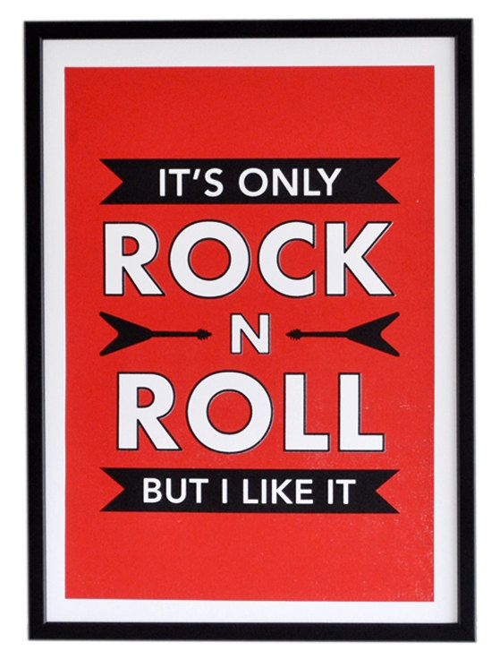 Only ROCK N ROLL Screen Print Rolling Stones by ThreeChordPrint, £22.00