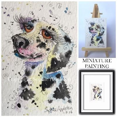 """On the 'paintings for sale' page of www.sixfootsophie.co.uk ACEO dreamy Dalmatian by Sophie Appleton (miniature painting 3.5""""x2.5"""")"""