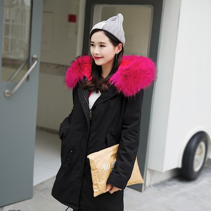 154.70$  Buy now - http://alidbt.worldwells.pw/go.php?t=32744558288 - 2017 New Fashion Black Winter Jacket With Rose Real Raccoon Fur Collar Women's Plus Size Long Thick Parker Coat With Fur Liner 154.70$