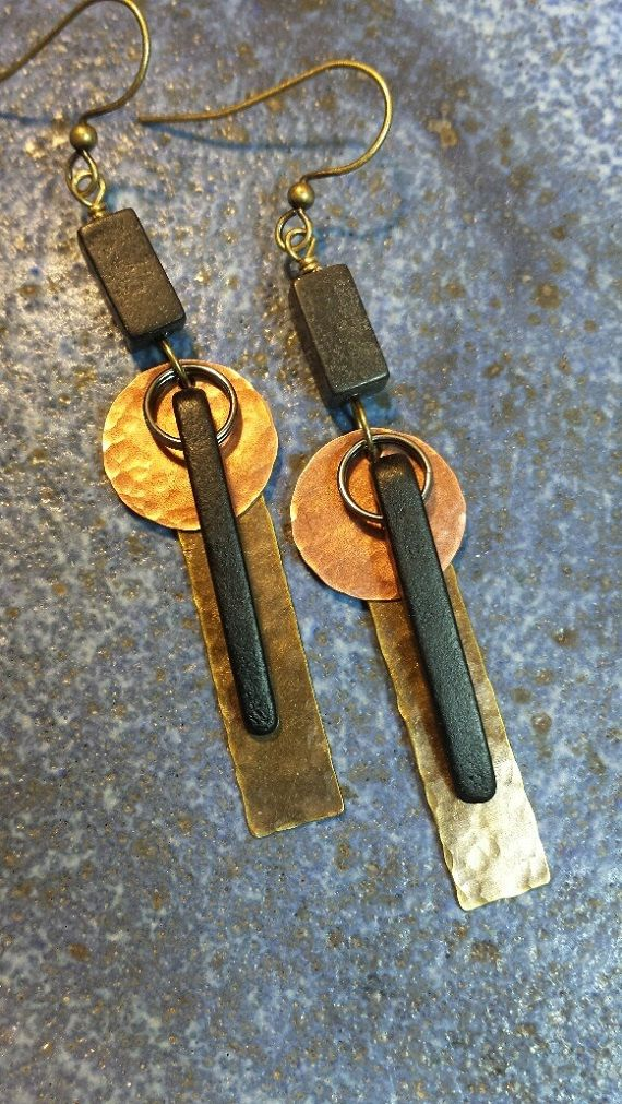 Mixed Metal Earrings Hammered Metal by HattieOliviaDesigns on Etsy