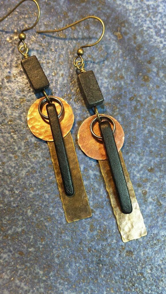 Mixed Metal Earrings Hammered Metal by HattieOliviaDesigns on Etsy