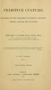 Cover of: Primitive culture by Edward B. Tylor, Edward Burnett Tylor