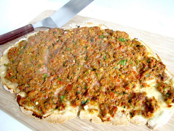 TURKISH FLAT BREAD LAMB PIZZA (LAHMACUN)  recipe: http://www.letsregale.com/turkish-flat-bread-lamb-pizza-lahmacun/