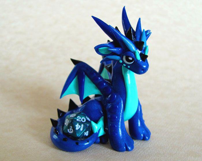 Blue Mini Dice Dragon by DragonsAndBeasties.deviantart.com on @deviantART